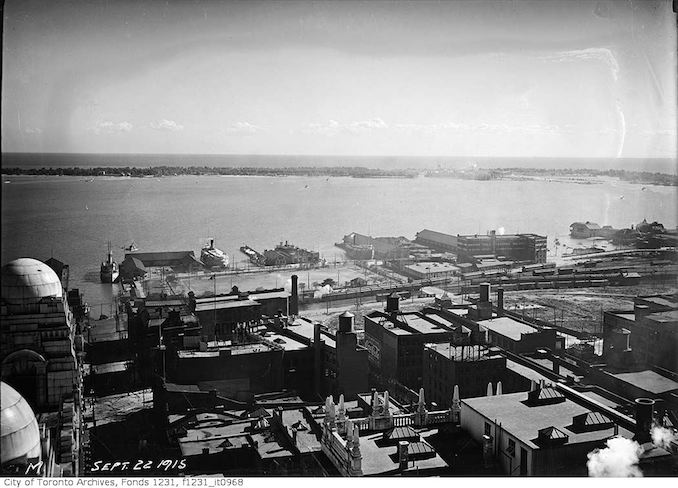 Waterfront from top of Royal Bank Building 1915