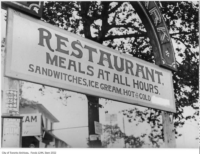 Restaurant sign. - [ca. 1910] Vintage Restaurant Photographs