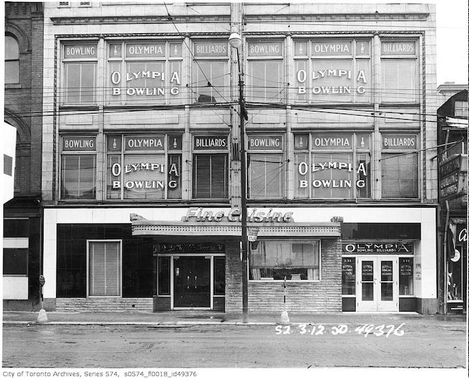1950 - 331-333 Yonge Street, occupied by Le Coq d'Or Tavern, 333 Yonge Street, with Olympia Bowling and Billiards on the 2nd floor, 331 Yonge Street