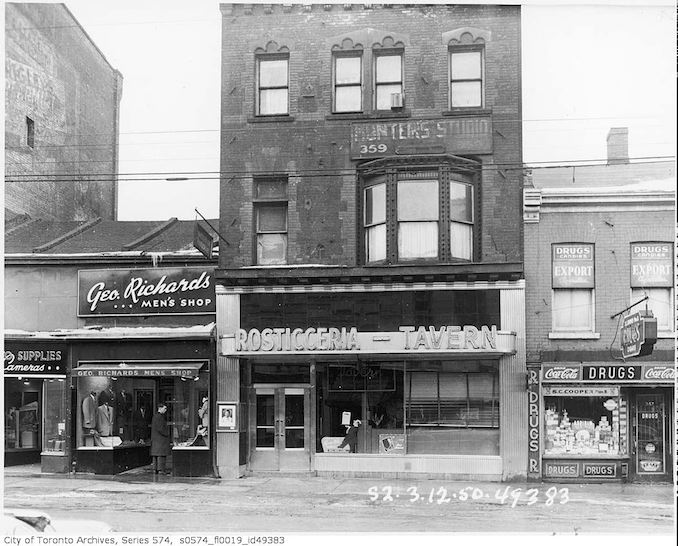 1950 - 357-361 Yonge Street, occupied by S.C. Cooper Drugs, 357 Yonge Street, Rosticceria-Tavern, 359 Yonge Street, and Geo. Richards Men's Shop, 361 Yonge Street