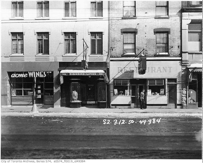 1950 - 367-371 Yonge Street, occupied by the Dominion Grill, 367 Yonge Street, Robinson's Clothes, 369 Yonge Street, and Acme Wines Ltd, 371 Yonge Street