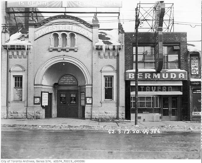 1950 - 379-383 Yonge Street, occupied by the Bermuda Tavern, 379 Yonge Street, and the Yonge Street Mission, 381-383 Yonge Street