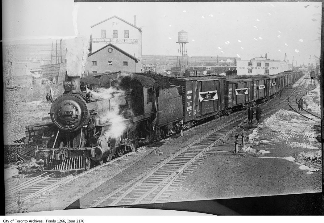 C. P. R., train of Ford cars, composite copy. - March 13, 1924 - vintage train photographs