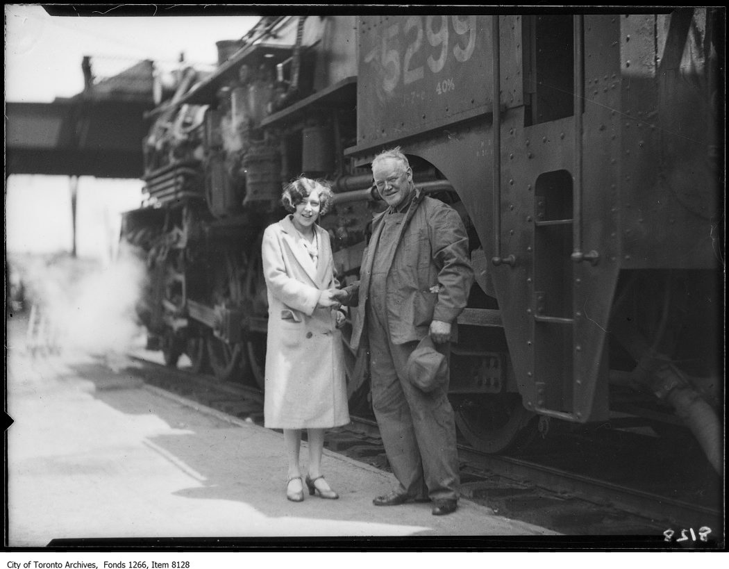 C.N.R. new Montreal train, engineer John Firby & girls. - June 28, 1926 - vintage train photographs