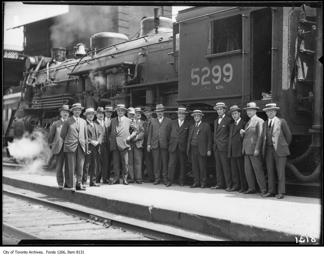 C.N.R. new Montreal train, group of officials. - June 28, 1926 - vintage train photographs