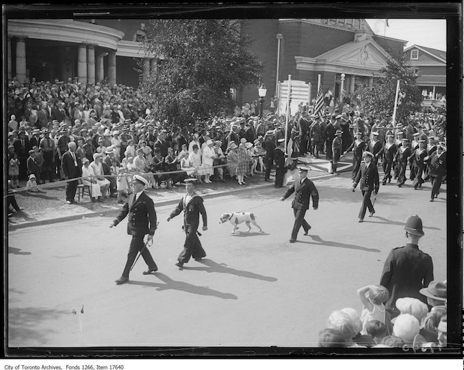 CNE, Warriors' Parade, Naval Men and bulldog. - August 24, 1929