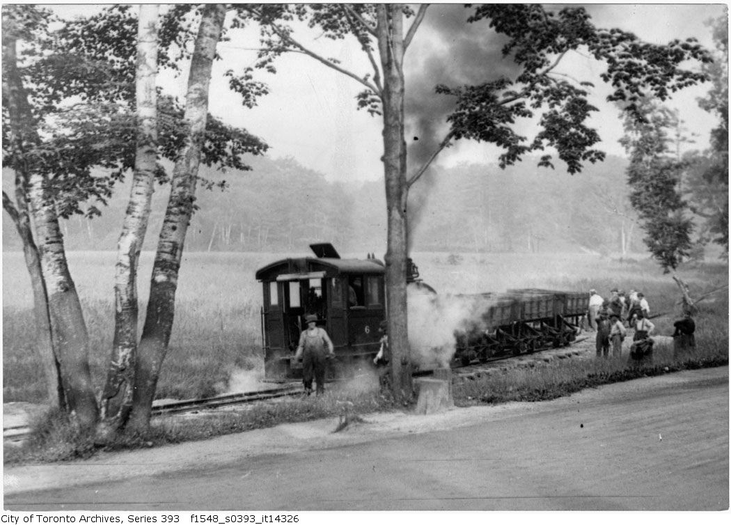 Catfish Pond - filling with train - 1917 - vintage train photographs