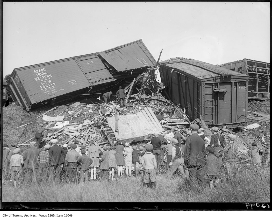 Danforth train wreck, wrecked freight cars. - September 29, 1928