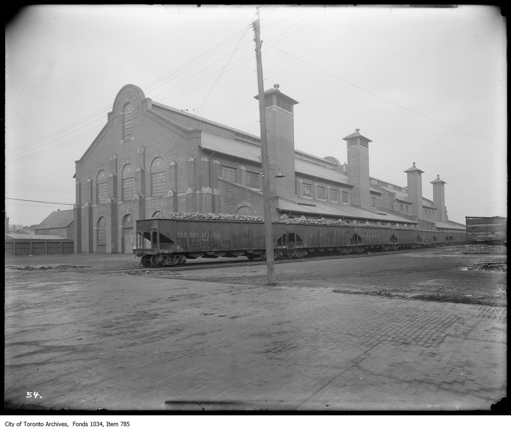 Exterior of Purifying House, Station B, Eastern Avenue, with loaded coal trains from Pennsylvania. - 1923