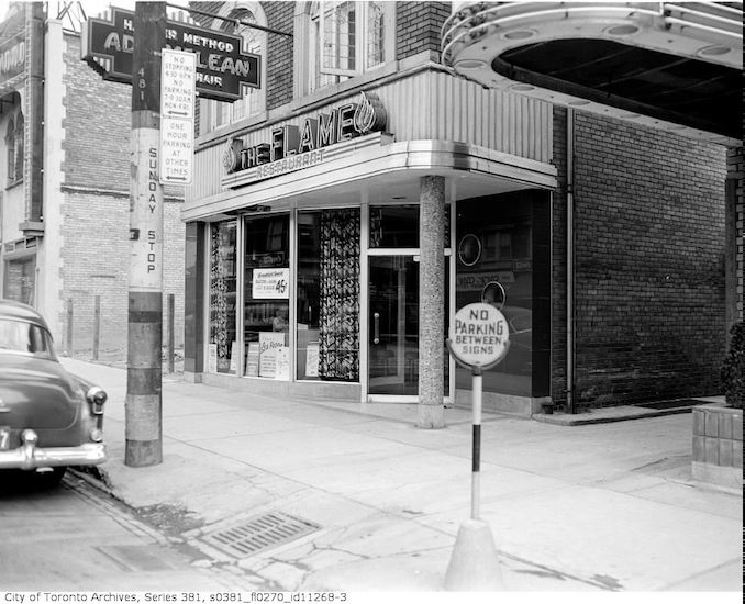 "Exterior views of ""The Flame"" restaurant - Oct. 19, 1953"
