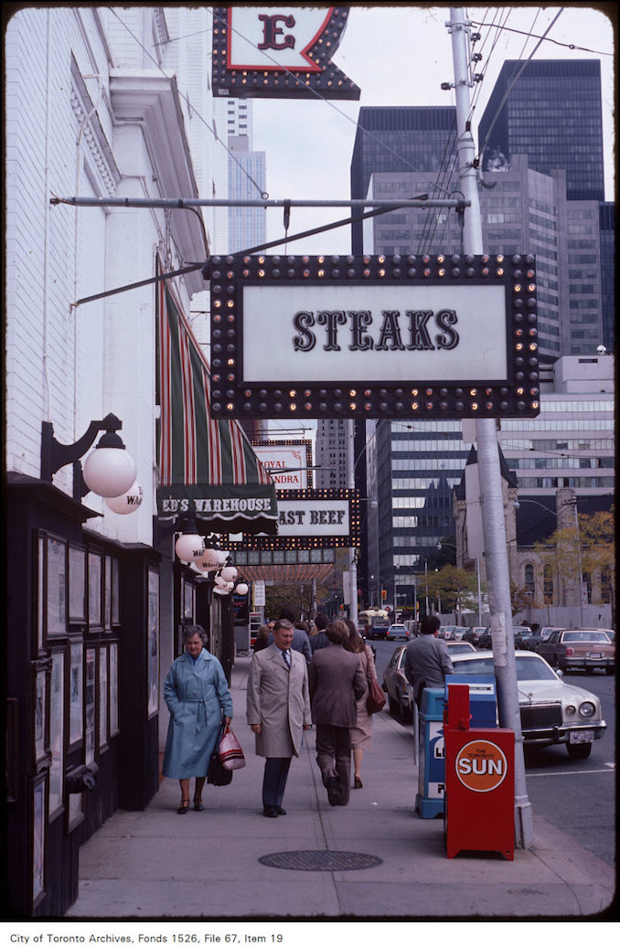 "King St W - ""Ed's Warehouse"" restaurant - view is east from Duncan - oct. 9, 1981"