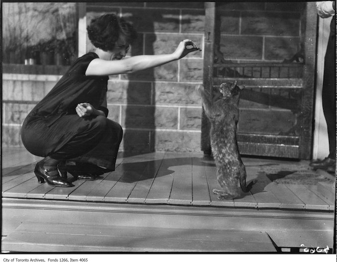 Lakefield, Miss Laing and cat. - November 10, 1924