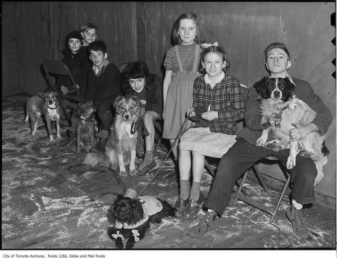 Moss Park pet show, group with pets april 2 1948 - Vintage Animal Photographs