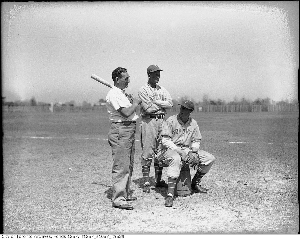 Nat Turofsky and players at Toronto Maple Leaf Baseball Club's spring training camp, Florida 1935-1956