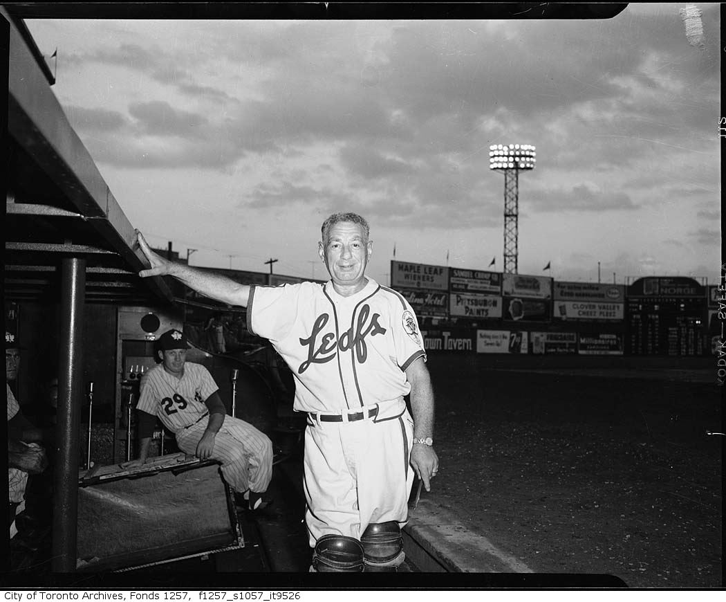 Nat Turofsky wearing Toronto Maple Leaf Baseball Club uniform, Maple Leaf Stadium 1940-1960