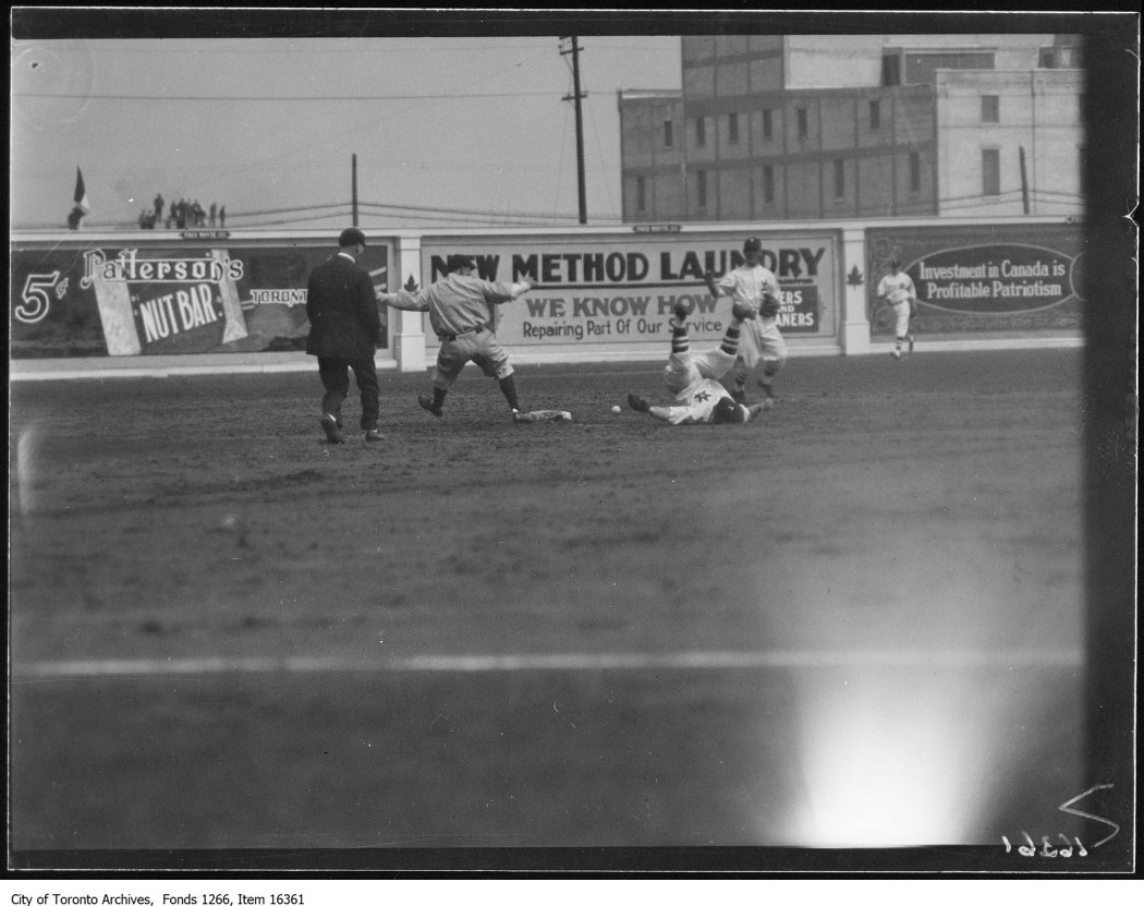 Opening ball game, Burke, Toronto, upside down, Larotte, Baltimore safe on 2nd. - May 1, 1929