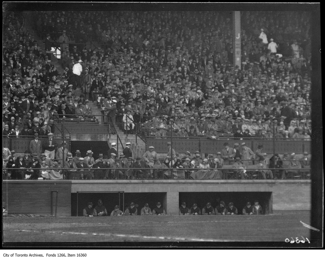 Opening ball game, crowd scene, Leafs' dugout. - May 1, 1929