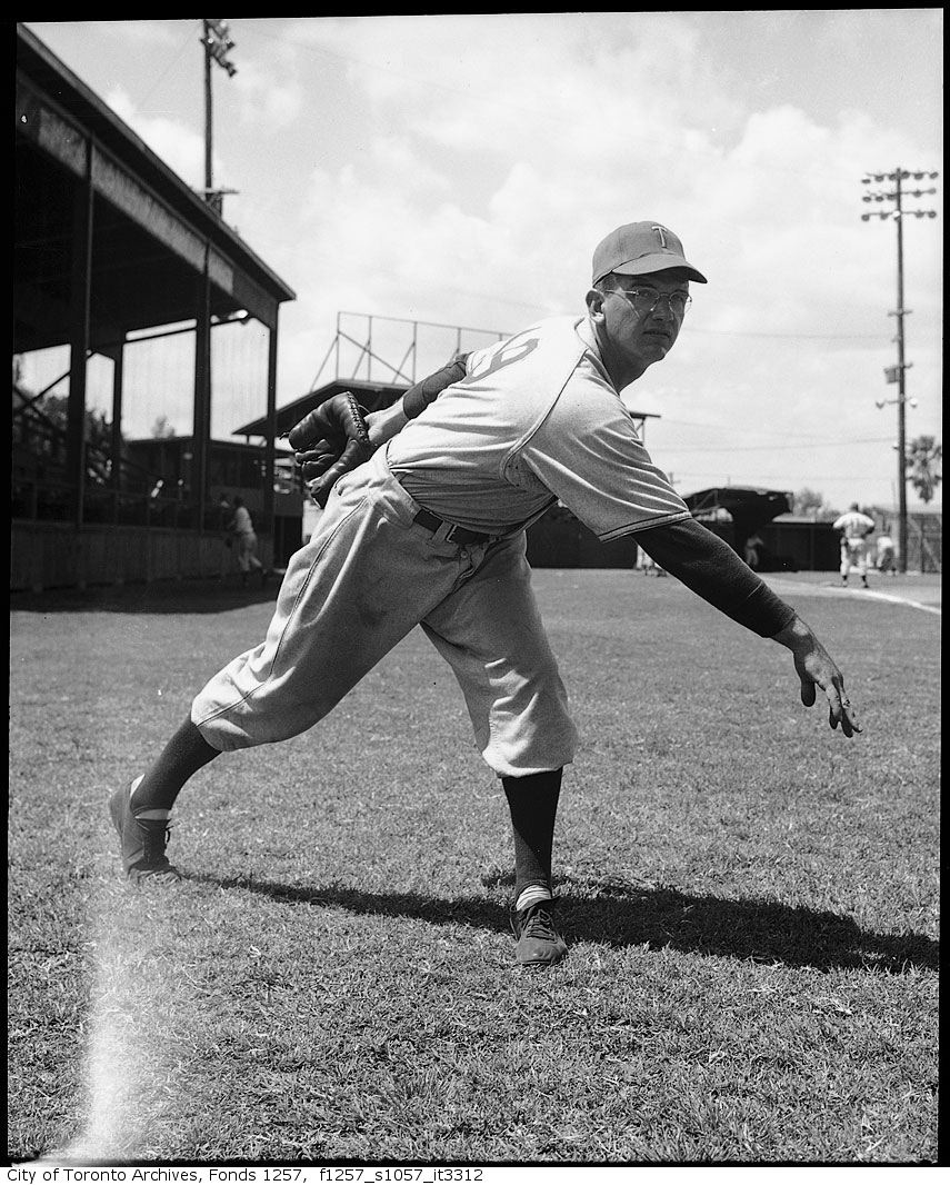 Pitcher Jim Konstanty of the Toronto Maple Leafs Baseball Club, at spring training camp, Florida 195?