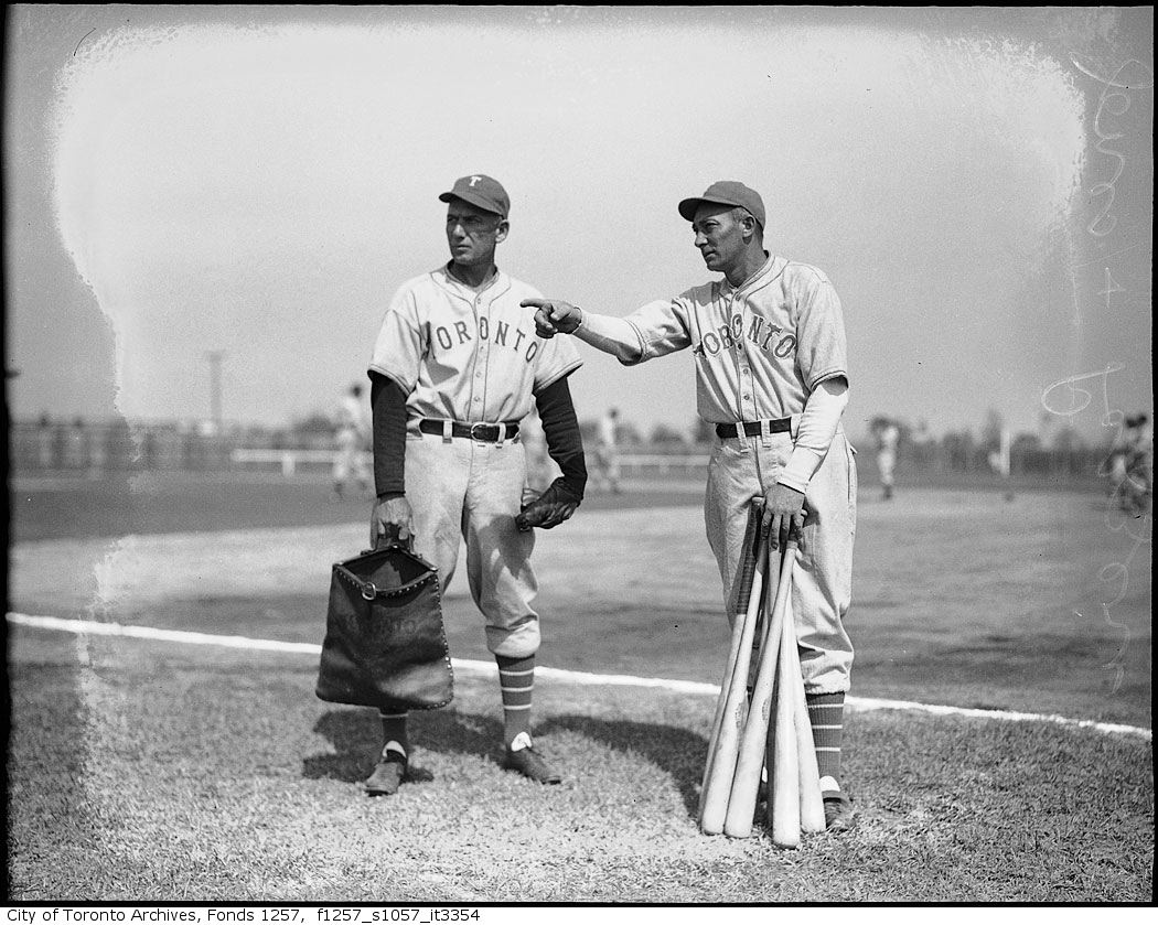 Tony Lazzeri, Toronto Maple Leafs Baseball Club manager, and player Sam Jones at spring training camp 1939 1940