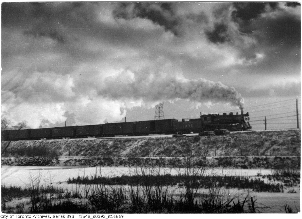 Train passing Catfish Pond - 1920
