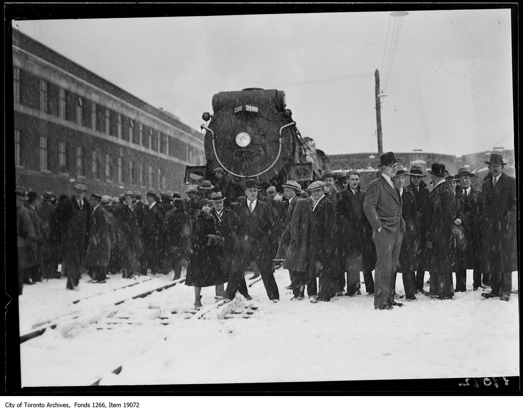 Viaduct opening, Canadian Pacific Railways train at west end of station - January 21, 1930