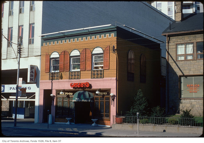 View of Gatsby's restaurant, on Church Street north of Carlton Street - may 3, 1975