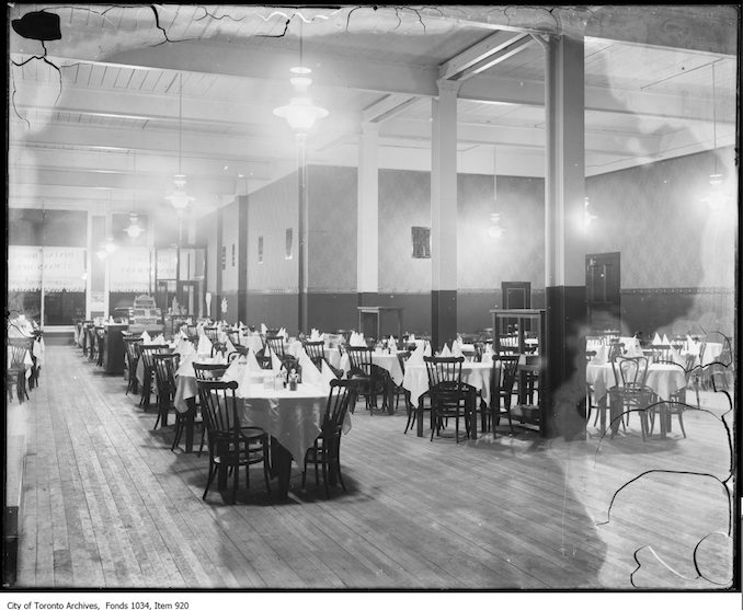 1913 - Orr Brothers restaurant, adjoining billiard academy, with over-hanging Humphrey gas arc lamps Vintage Restaurant Photographs
