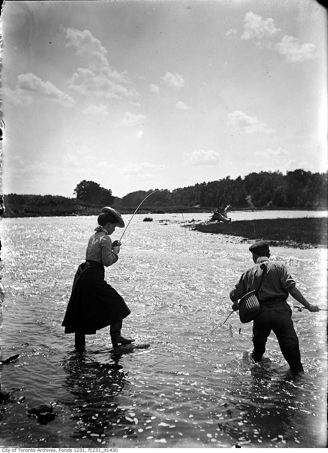 1902 - July - Man and woman fishing in the Credit River - Vintage Fishing Photographs