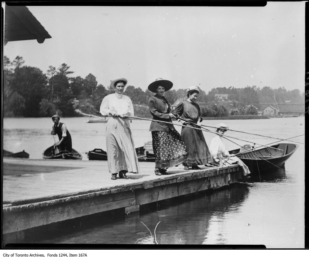 1908 - Three women fishing - Vintage Fishing Photographs