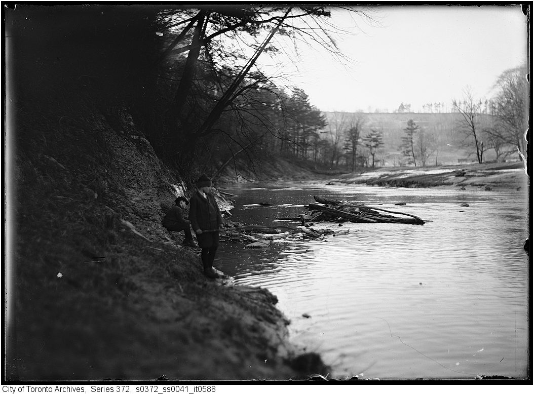 1916 - Fishing on the Don River - two boys - Original negative by A.S. Goss - Vintage Fishing Photographs