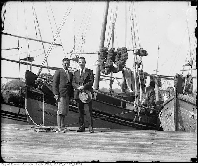 193? - Nat Turofsky (left) next to boat - vintage boating photographs