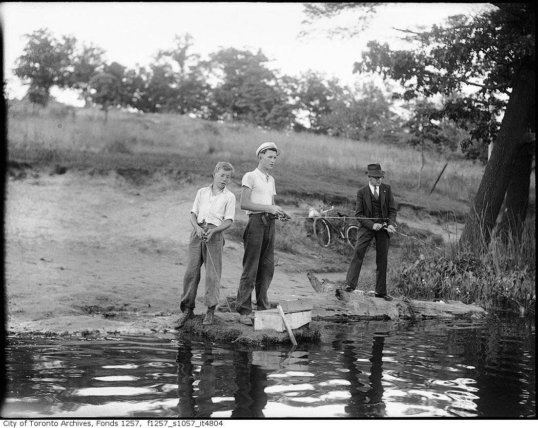 193? - Three men fishing from river bank - Vintage Fishing Photographs