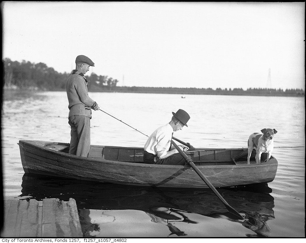 193? - Two men in boat, fishing - Vintage Fishing Photographs