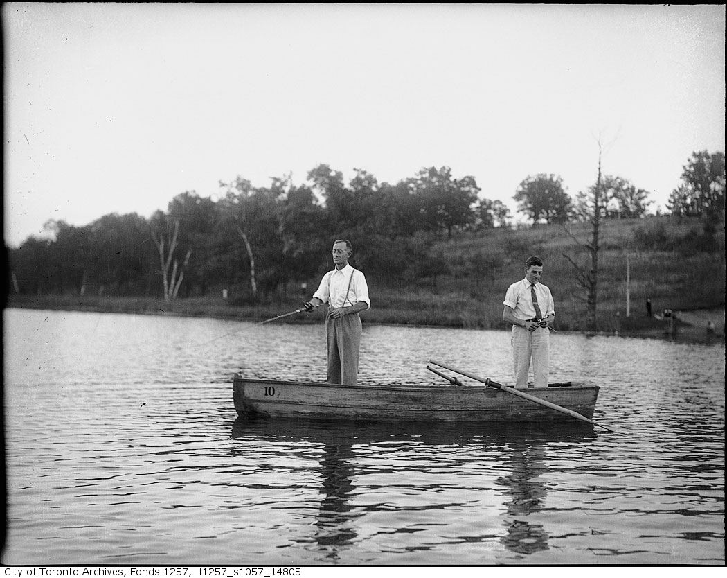 193? - Two men in boat, fishing copy - Vintage Fishing Photographs