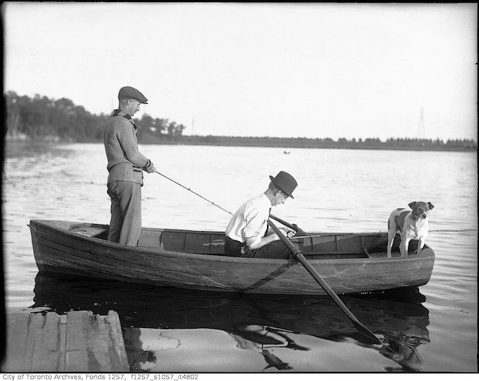 193? - Two men in boat, fishing - vintage boating photographs