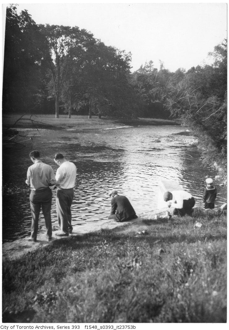 1932 - June 12 - Norval - Credit River - fishing - dam - Vintage Fishing Photographs