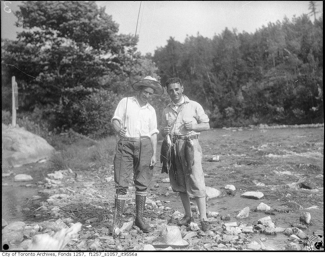 1935-56 - Nat Turofsky and another man posing with fish - Vintage Fishing Photographs