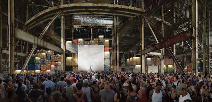 Rendering of Luminato Festival's Music Stage at the Hearn - courtesy of PARTISANS and Norm Li