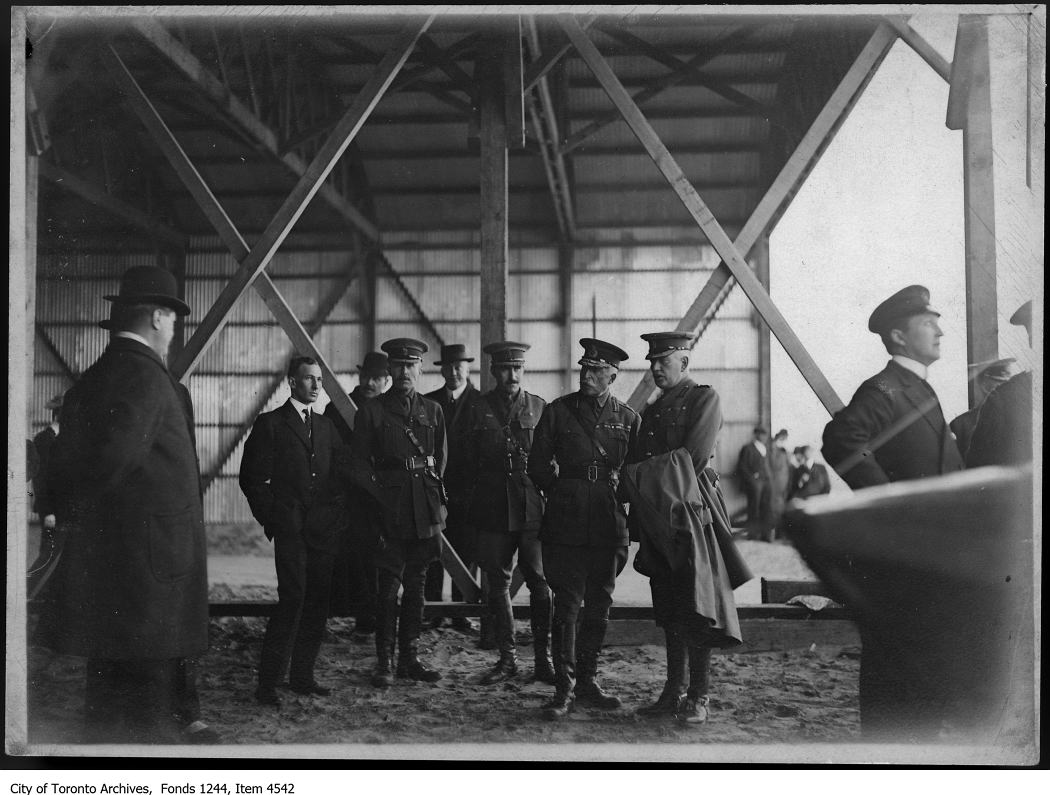 1915 - Duke of Connaught and army brass inspect hangar, Toronto Island