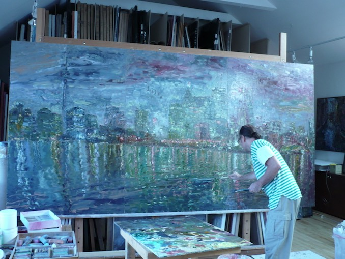 Here I am working in my studio, one of my favourite places