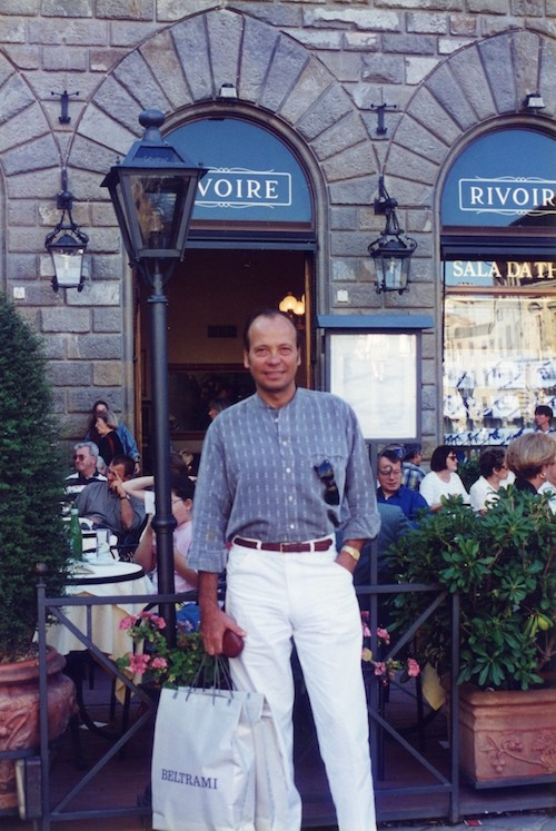 This is me in Signoria Square in Florence, where I'm from, in front of my favourite coffee shop called Rivoire