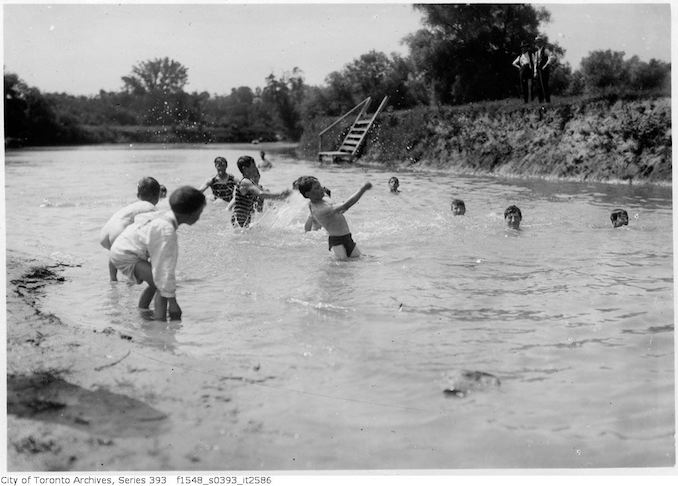 1922 - July - Humber River, swimming scene near Old Mill