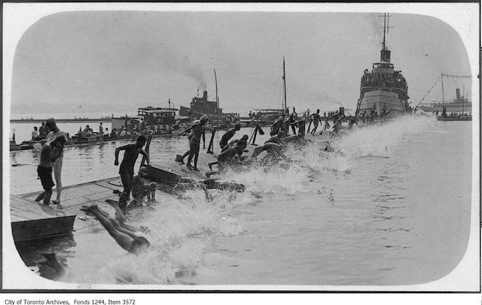 1930 - Start of marathon swim, CNE