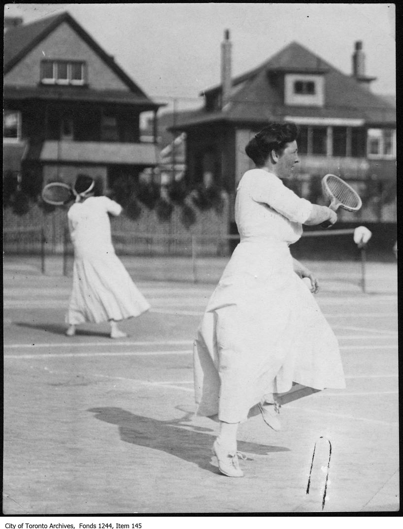 1908 - Miss Summerhayes playing tennis