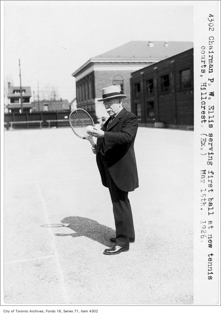 1926 - may 15 - Chairman P.W. Ellis, serving first ball, at new tennis courts, Hillcrest