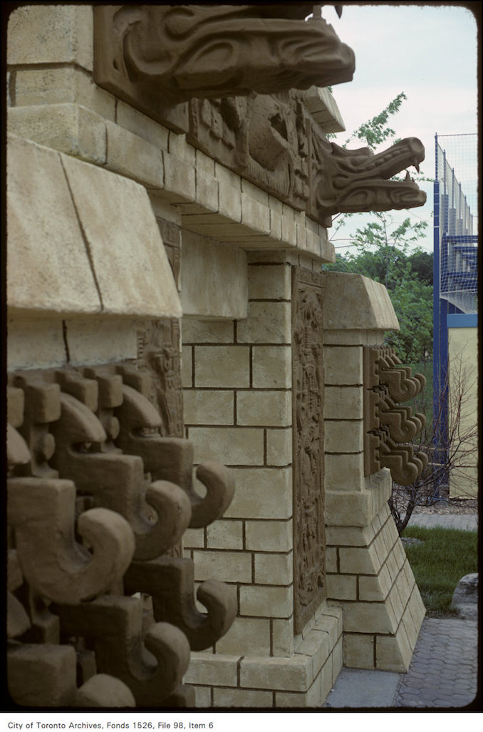 1981 - June 8 - View of detail of temple entrance at Canada's Wonderland