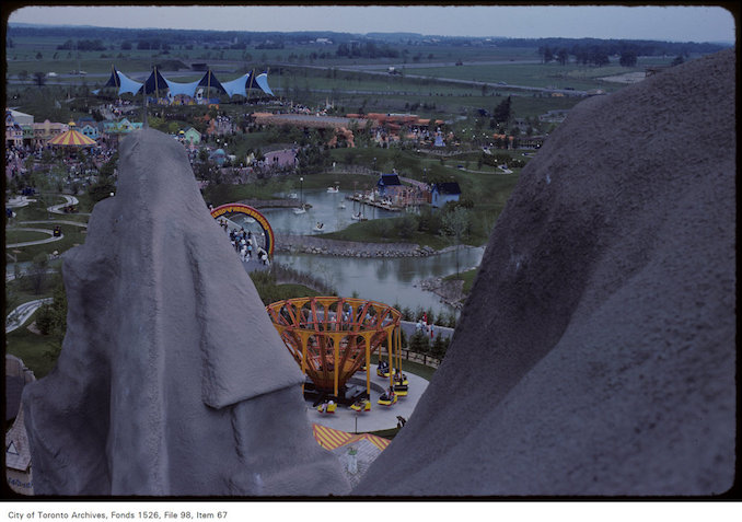 1981 - june 8 - Overhead view of grounds at Canada's Wonderland including band stand, water features