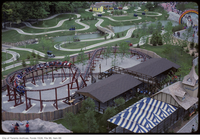 1981 - june 8 - Slight overhead view of roller coaster tracks at Canada's Wonderland