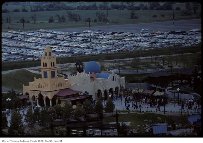 1981 - june 8 - View of castle on Canada's Wonderland grounds and surrounding area including parking lot