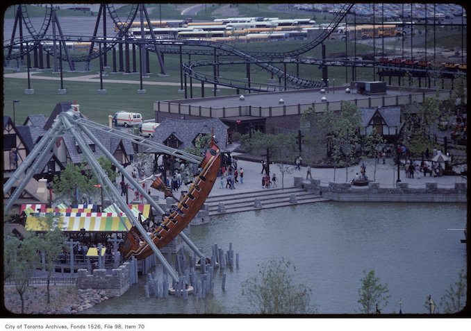 1981 - june 8 - View of rocking boat and pond on Canada's Wonderland ground